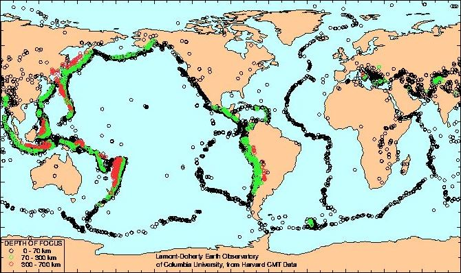 Map of global seismic activity (earthquakes) 1977-1992