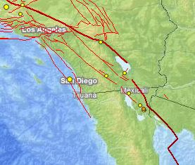 Baja California Seismic activity map